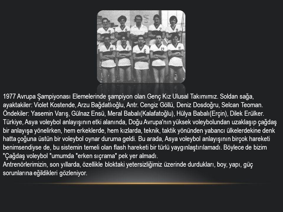 1977 Avrupa Şampiyonası Elemelerinde şampiyon olan Genç Kız Ulusal Takımımız.
