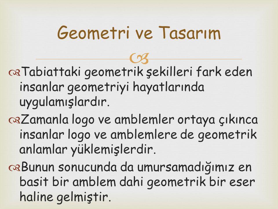 Geometri ve Tasarım Tabiattaki geometrik şekilleri fark eden insanlar geometriyi hayatlarında uygulamışlardır.