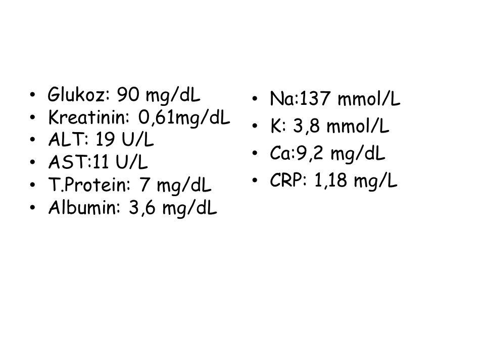 Glukoz: 90 mg/dL Kreatinin: 0,61mg/dL. ALT: 19 U/L. AST:11 U/L. T.Protein: 7 mg/dL. Albumin: 3,6 mg/dL.