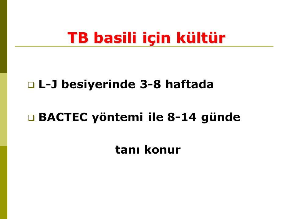 TB basili için kültür L-J besiyerinde 3-8 haftada
