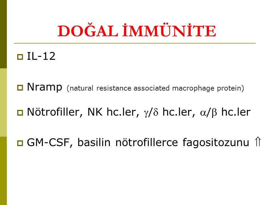 DOĞAL İMMÜNİTE IL-12. Nramp (natural resistance associated macrophage protein) Nötrofiller, NK hc.ler, / hc.ler, / hc.ler.