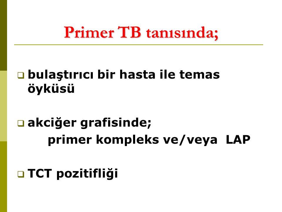 Primer TB tanısında; bulaştırıcı bir hasta ile temas öyküsü
