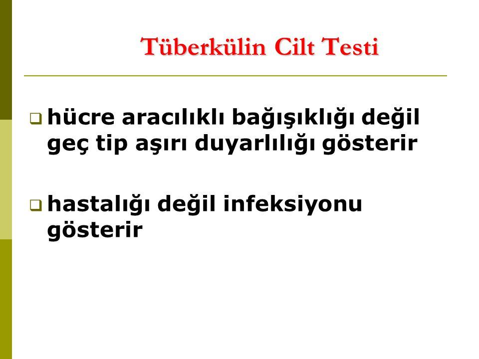 Tüberkülin Cilt Testi hücre aracılıklı bağışıklığı değil geç tip aşırı duyarlılığı gösterir.