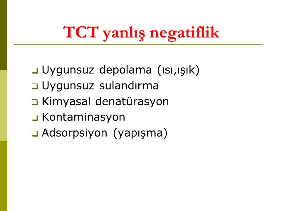TCT yanlış negatiflik Uygunsuz depolama (ısı,ışık) Uygunsuz sulandırma