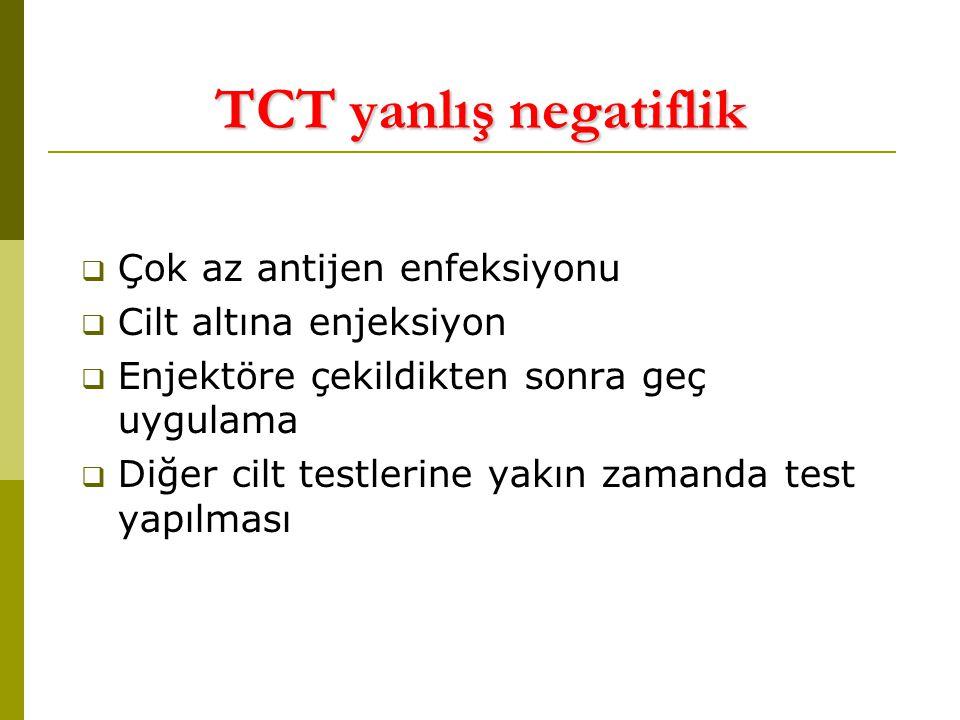 TCT yanlış negatiflik Çok az antijen enfeksiyonu
