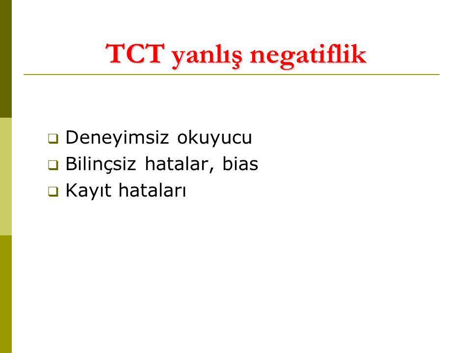 TCT yanlış negatiflik Deneyimsiz okuyucu Bilinçsiz hatalar, bias