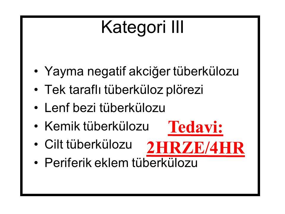 Kategori III Tedavi: 2HRZE/4HR Yayma negatif akciğer tüberkülozu