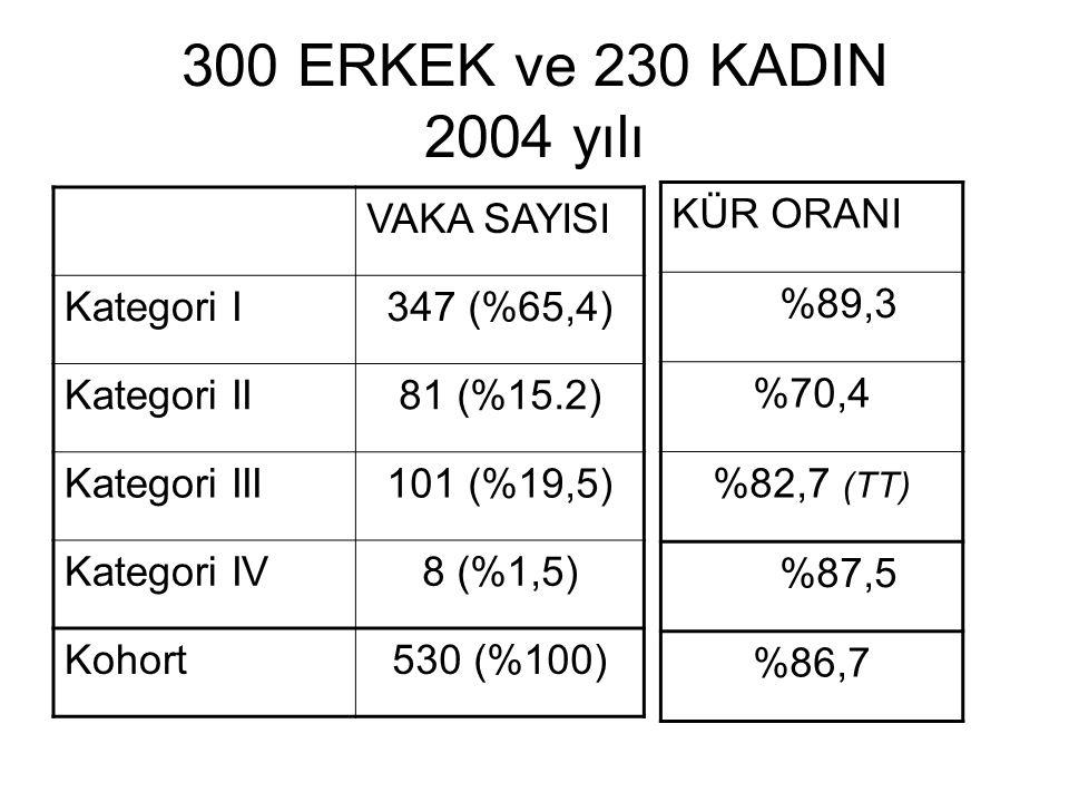 300 ERKEK ve 230 KADIN 2004 yılı VAKA SAYISI Kategori I 347 (%65,4)
