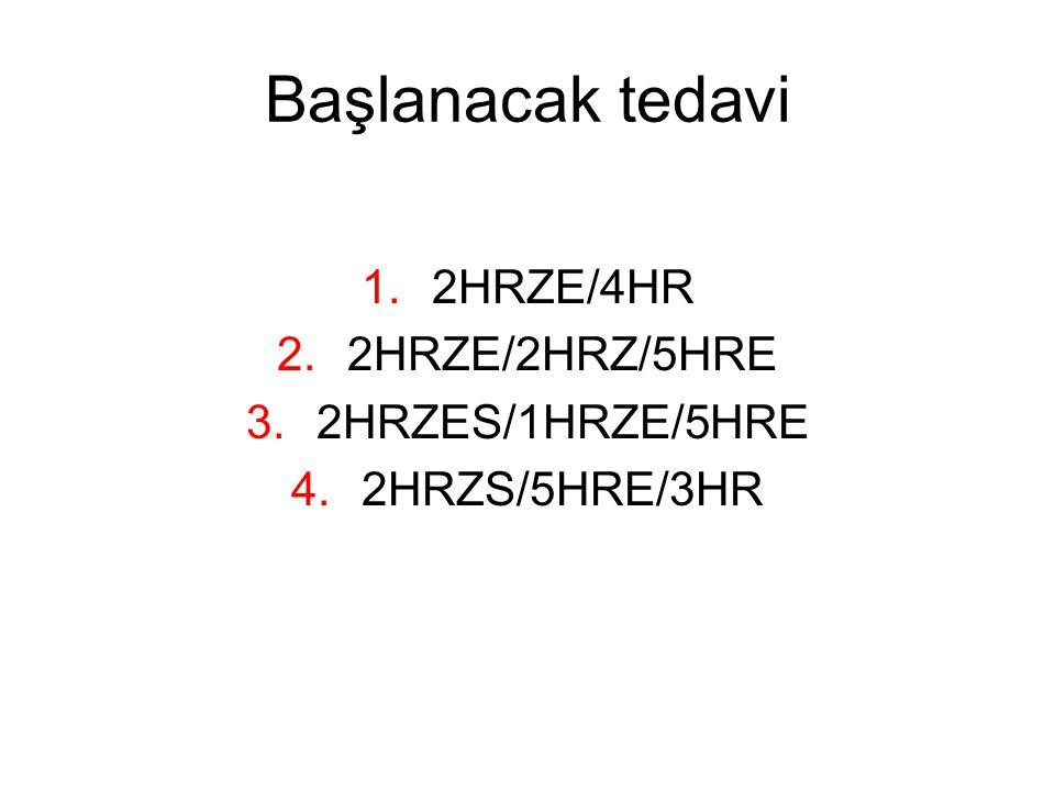 Başlanacak tedavi 2HRZE/4HR 2HRZE/2HRZ/5HRE 2HRZES/1HRZE/5HRE