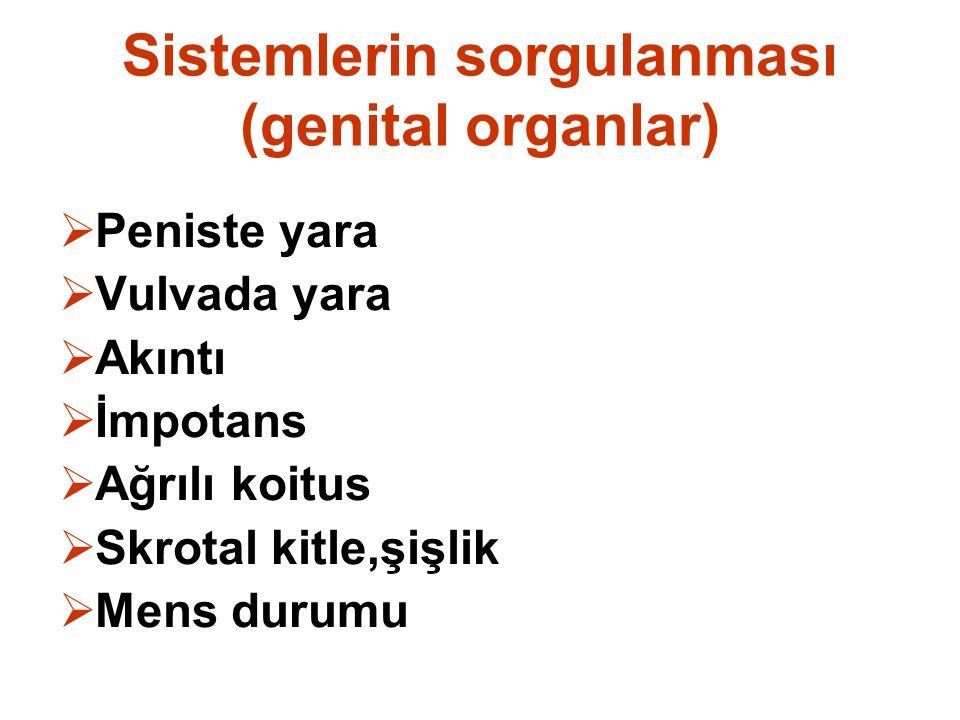 Sistemlerin sorgulanması (genital organlar)