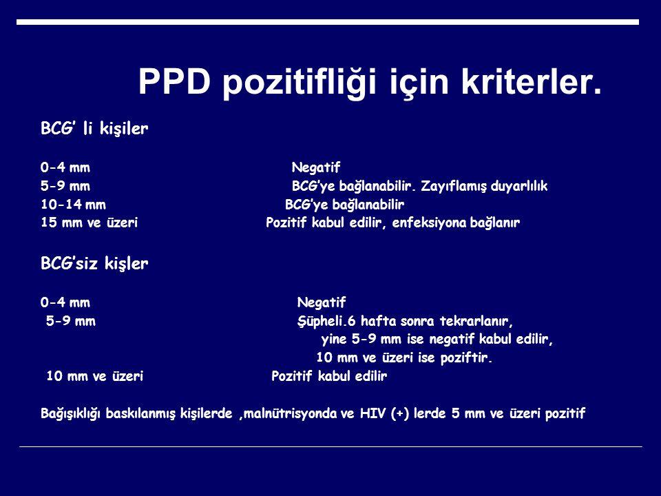 PPD pozitifliği için kriterler.