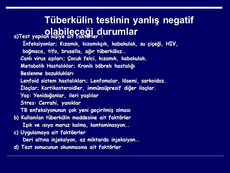 Tüberkülin testinin yanlış negatif olabileceği durumlar