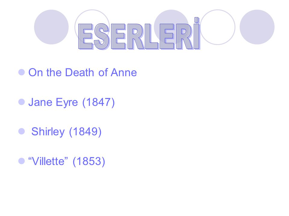On the Death of Anne Jane Eyre (1847) Shirley (1849) Villette (1853)