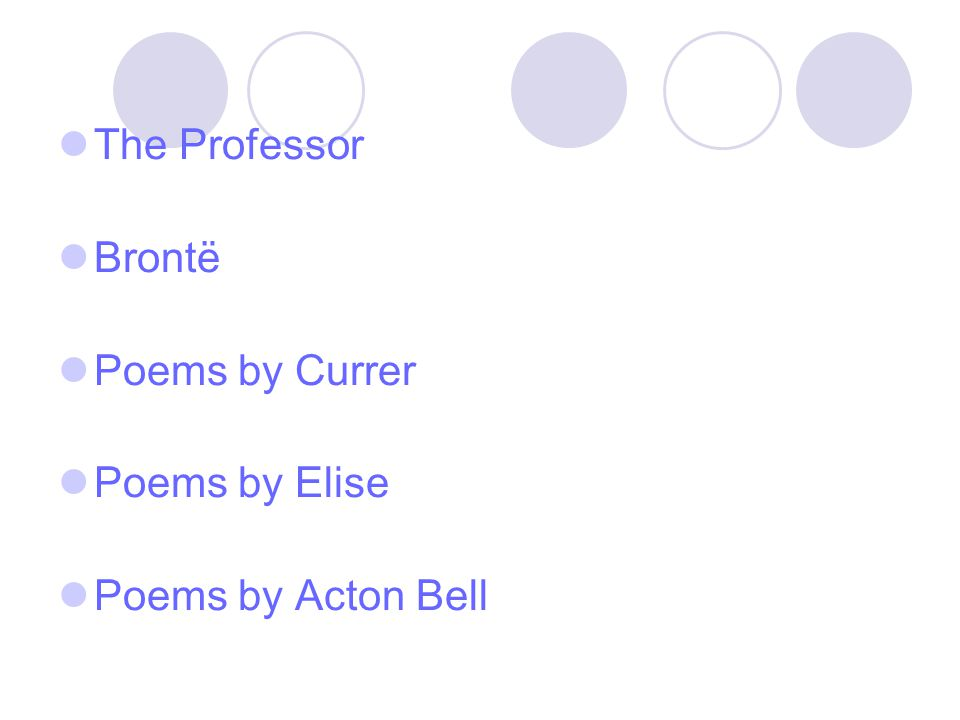 The Professor Brontë Poems by Currer Poems by Elise Poems by Acton Bell