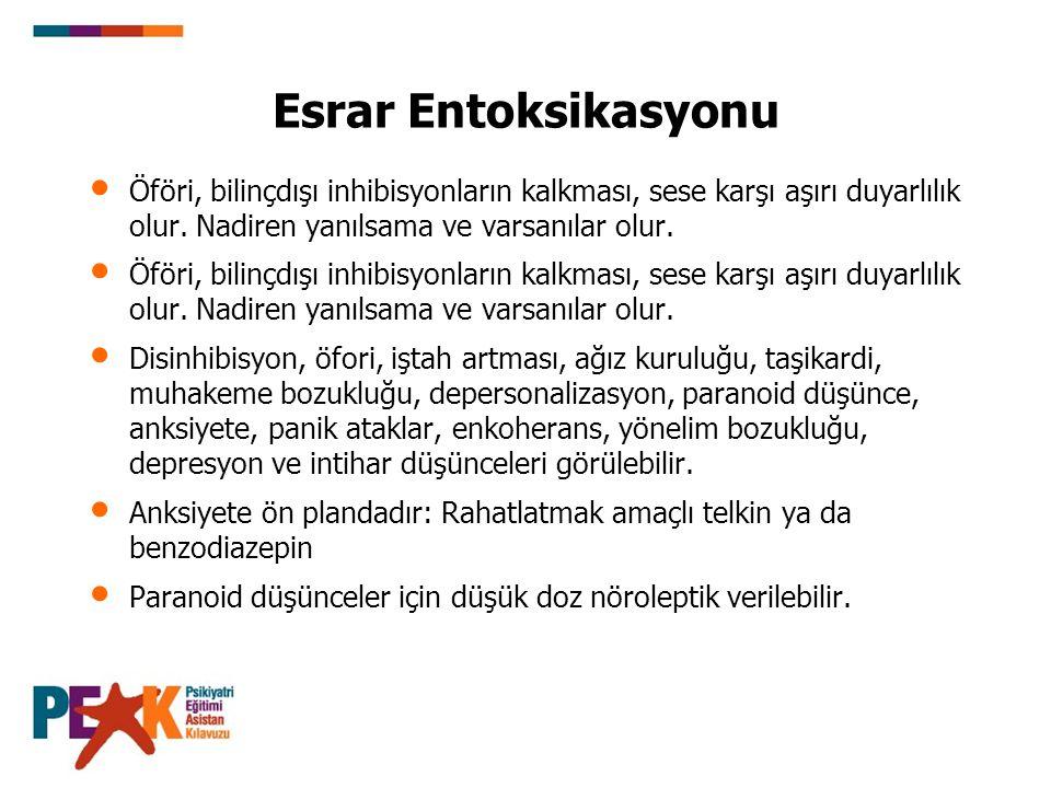 Esrar Entoksikasyonu Öföri, bilinçdışı inhibisyonların kalkması, sese karşı aşırı duyarlılık olur. Nadiren yanılsama ve varsanılar olur.