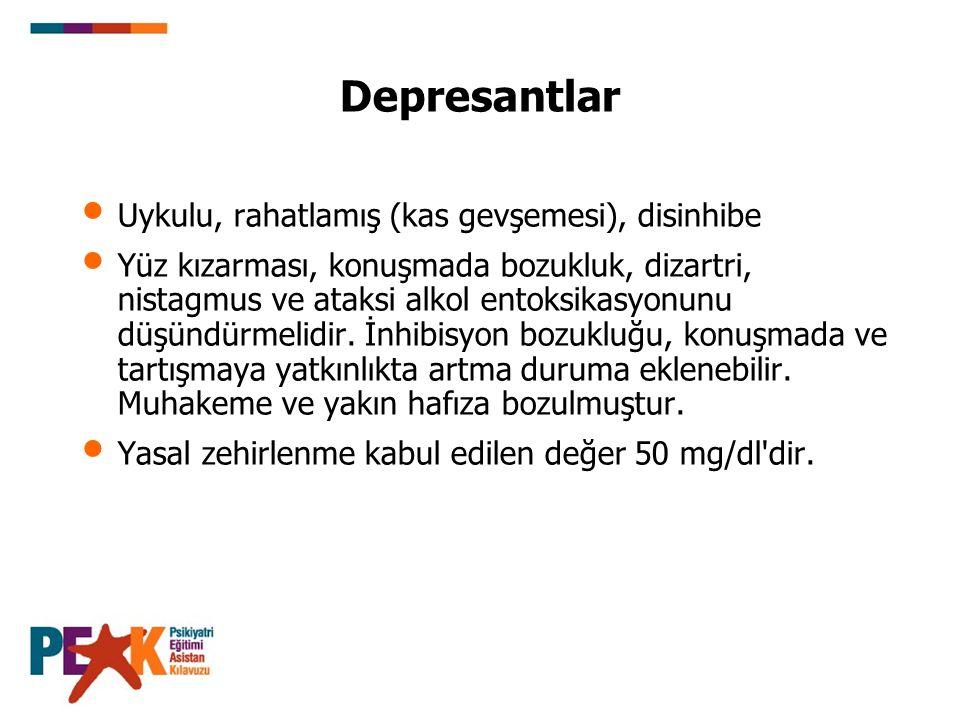 Depresantlar Uykulu, rahatlamış (kas gevşemesi), disinhibe