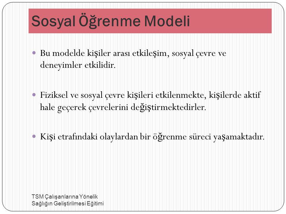 Sosyal Öğrenme Modeli Bu modelde kişiler arası etkileşim, sosyal çevre ve deneyimler etkilidir.