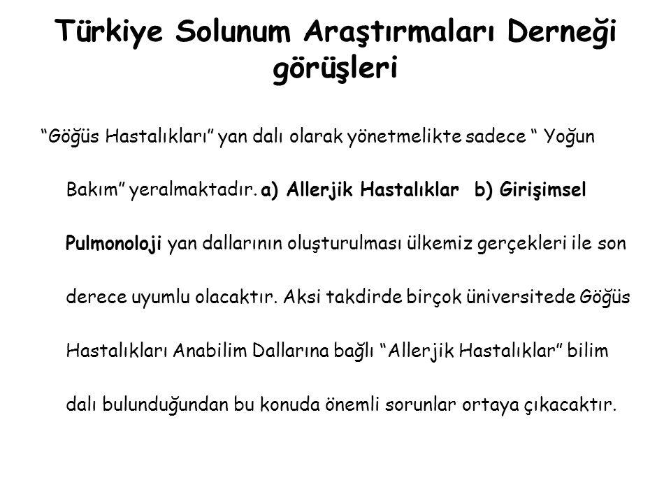 Türkiye Solunum Araştırmaları Derneği görüşleri