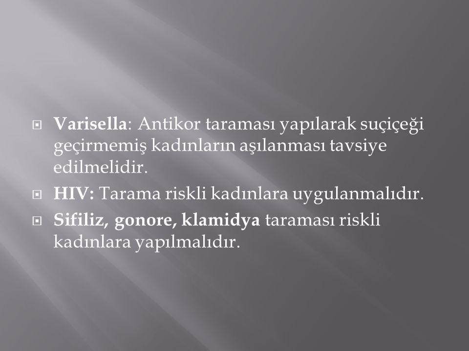 Varisella: Antikor taraması yapılarak suçiçeği geçirmemiş kadınların aşılanması tavsiye edilmelidir.