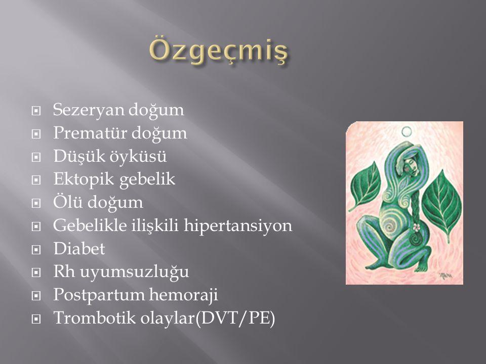 Özgeçmiş Sezeryan doğum Prematür doğum Düşük öyküsü Ektopik gebelik