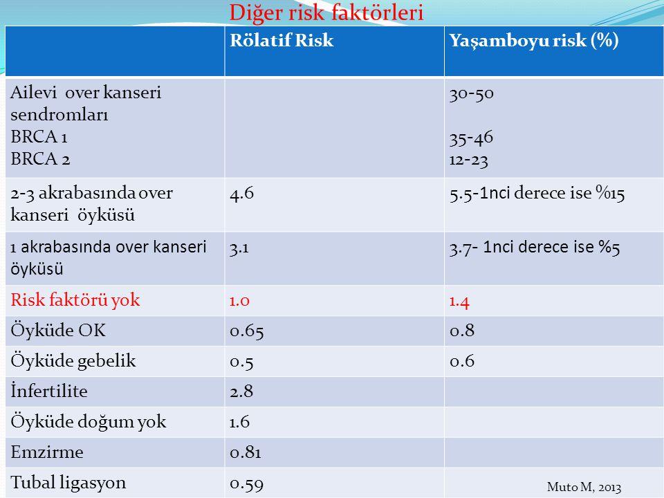 Diğer risk faktörleri Rölatif Risk Yaşamboyu risk (%)