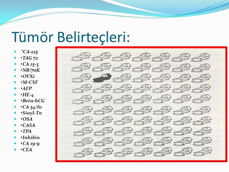 Tümör Belirteçleri: *CA-125 •TAG 72 •CA 15-3 •NB/70K •OVX1 •M-CSF •AFP