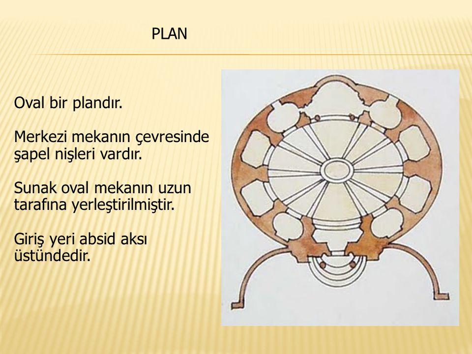 PLAN Oval bir plandır. Merkezi mekanın çevresinde şapel nişleri vardır. Sunak oval mekanın uzun tarafına yerleştirilmiştir.