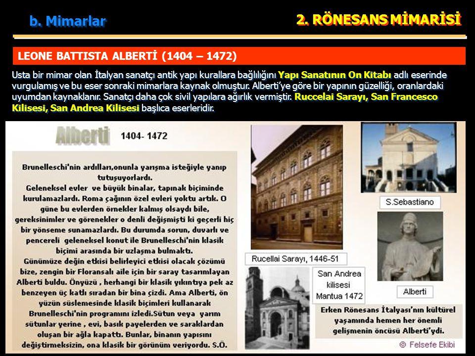 b. Mimarlar 2. RÖNESANS MİMARİSİ LEONE BATTISTA ALBERTİ (1404 – 1472)
