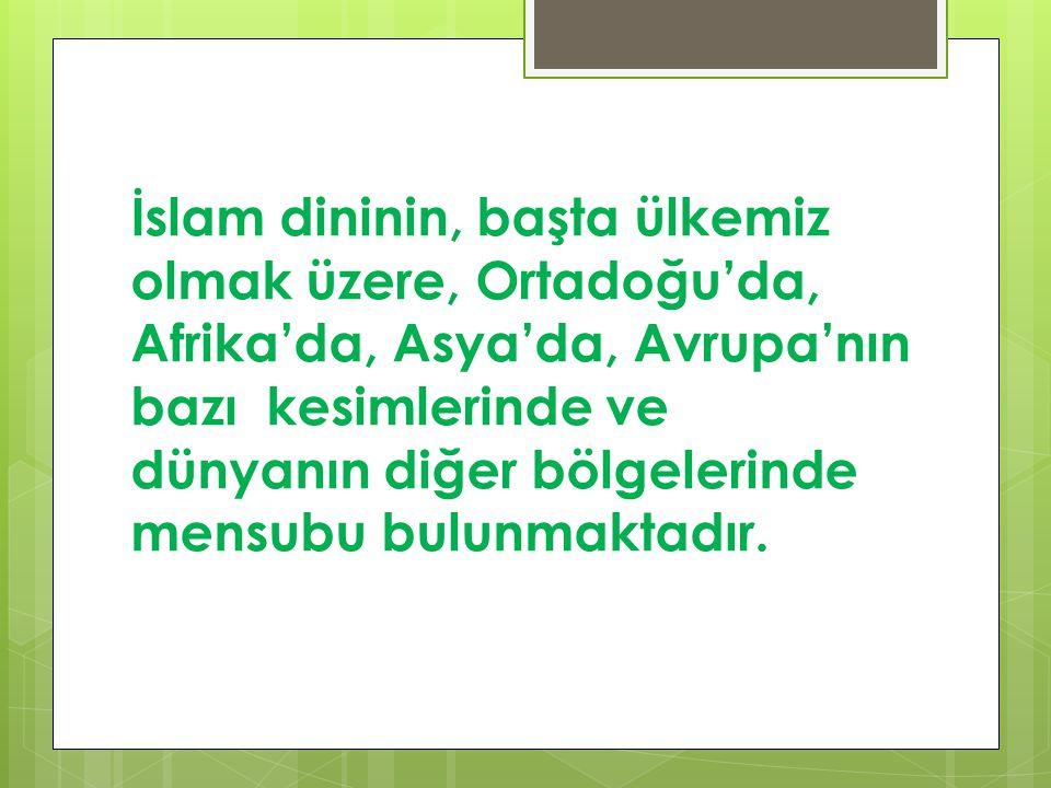 İslam dininin, başta ülkemiz olmak üzere, Ortadoğu'da, Afrika'da, Asya'da, Avrupa'nın bazı kesimlerinde ve dünyanın diğer bölgelerinde mensubu bulunmaktadır.