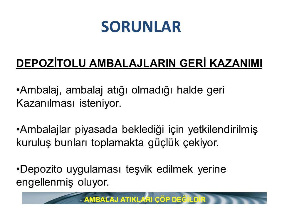 SORUNLAR DEPOZİTOLU AMBALAJLARIN GERİ KAZANIMI