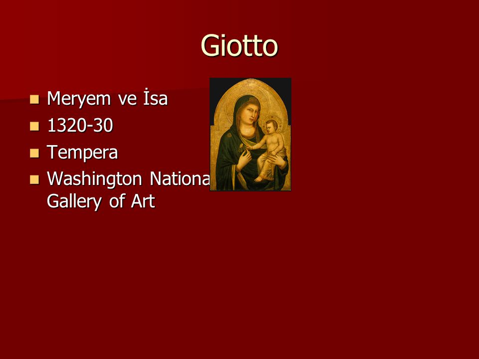 Giotto Meryem ve İsa Tempera