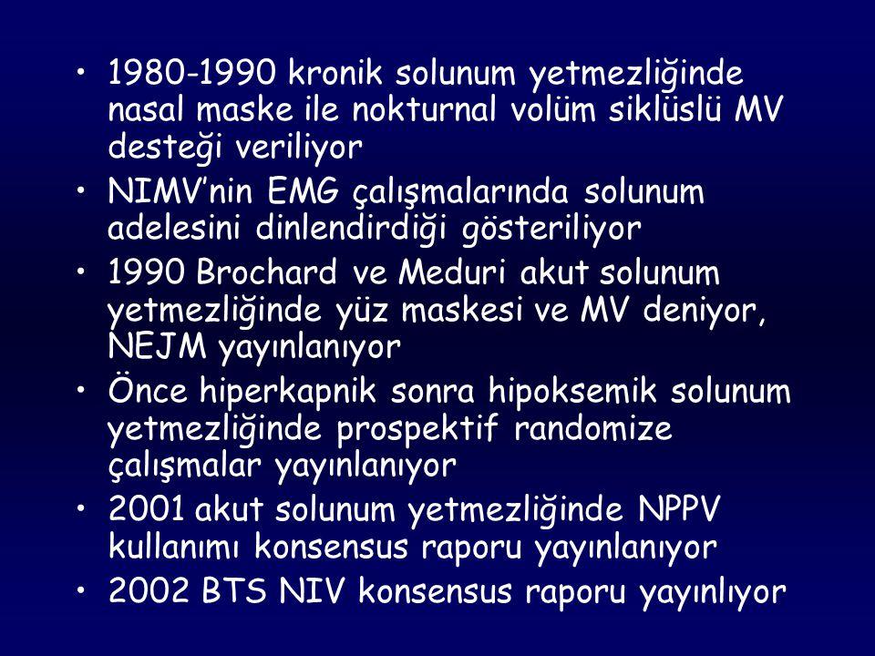 1980-1990 kronik solunum yetmezliğinde nasal maske ile nokturnal volüm siklüslü MV desteği veriliyor
