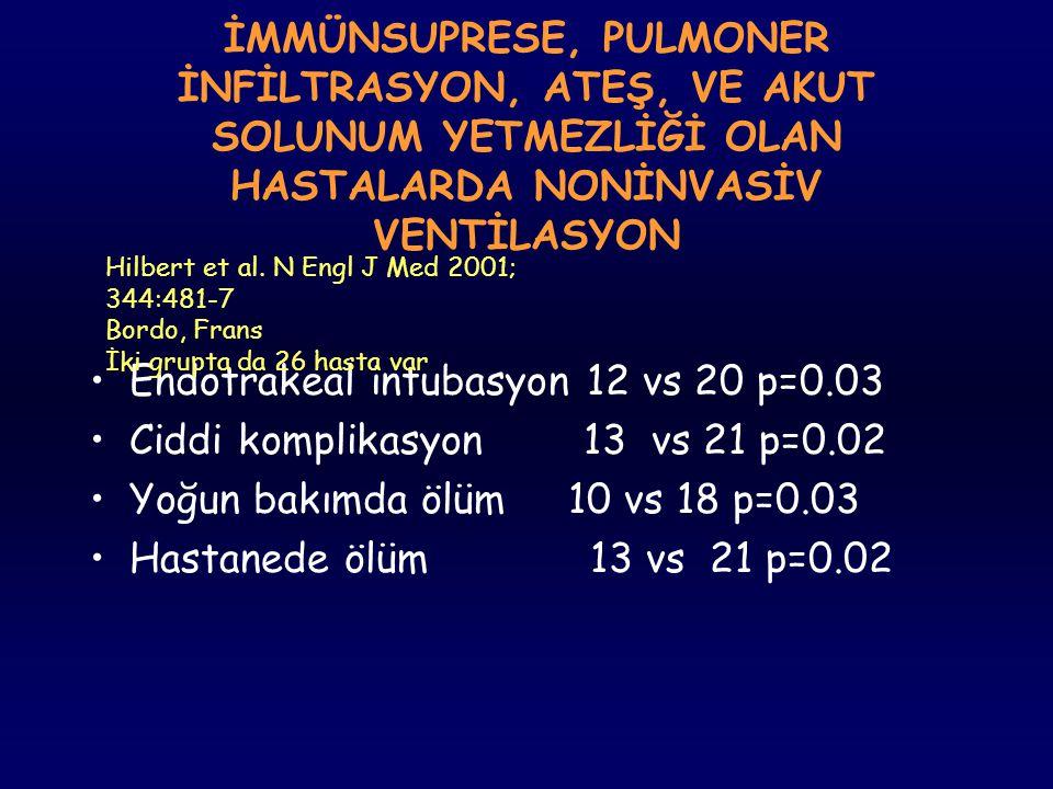 Endotrakeal intubasyon 12 vs 20 p=0.03