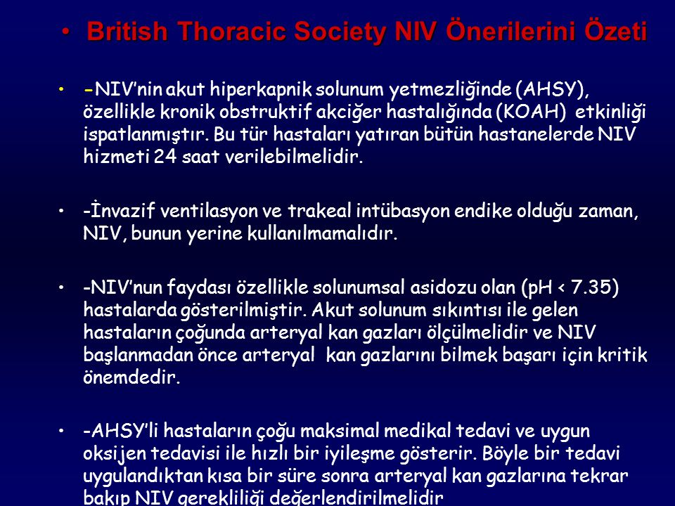 British Thoracic Society NIV Önerilerini Özeti