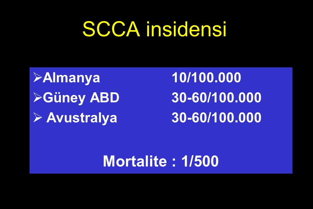 SCCA insidensi Mortalite : 1/500 Almanya 10/100.000