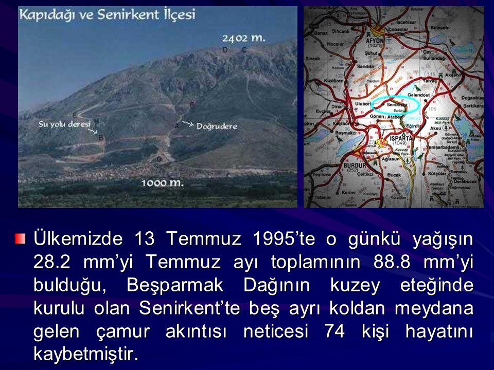 Ülkemizde 13 Temmuz 1995'te o günkü yağışın 28