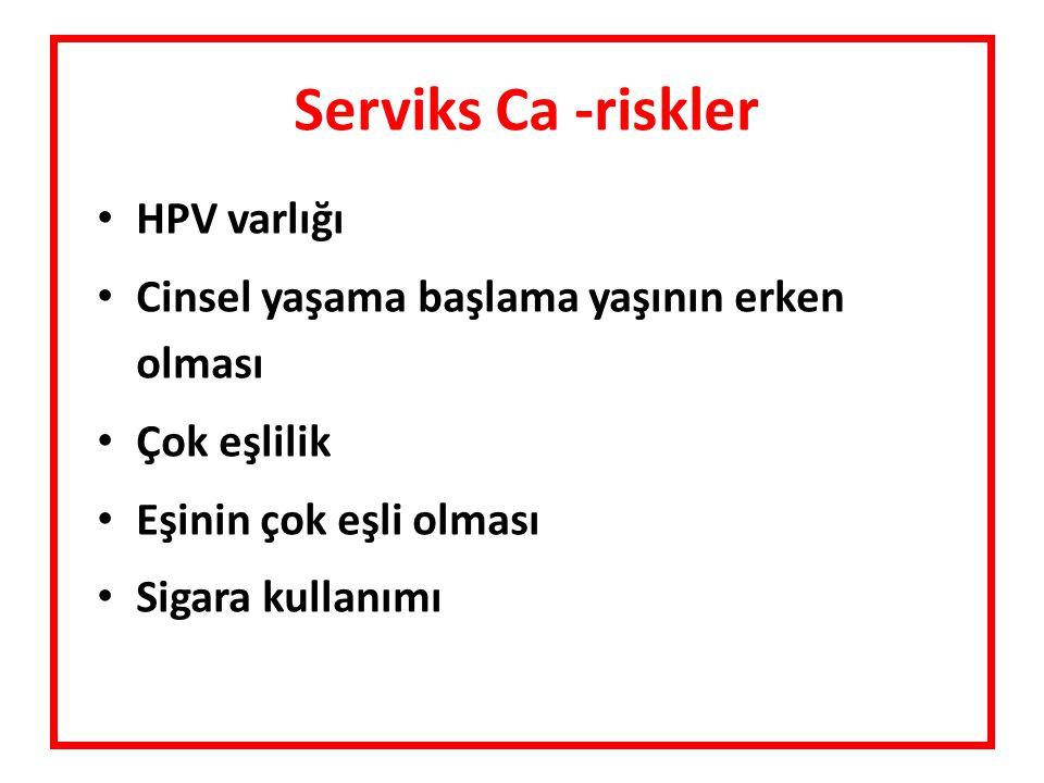 Serviks Ca -riskler HPV varlığı