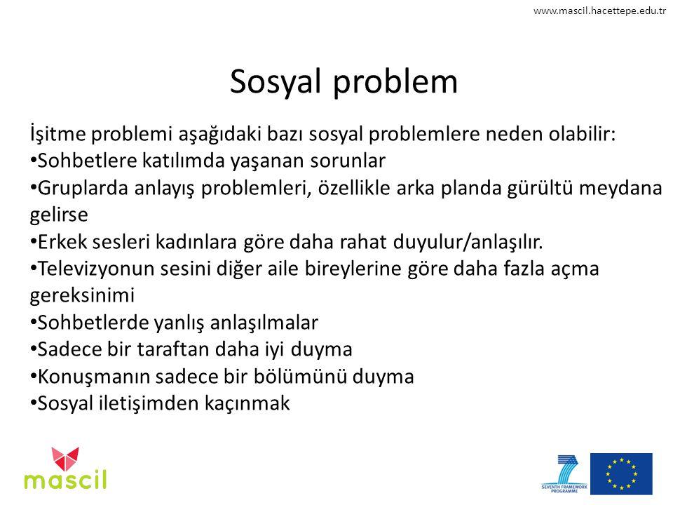 Sosyal problem İşitme problemi aşağıdaki bazı sosyal problemlere neden olabilir: Sohbetlere katılımda yaşanan sorunlar.