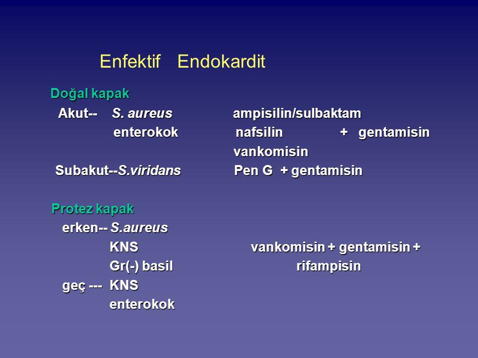 Enfektif Endokardit Doğal kapak Akut-- S. aureus ampisilin/sulbaktam