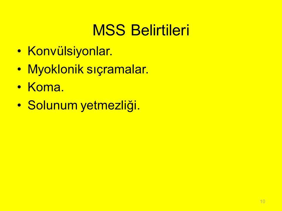 MSS Belirtileri Konvülsiyonlar. Myoklonik sıçramalar. Koma.