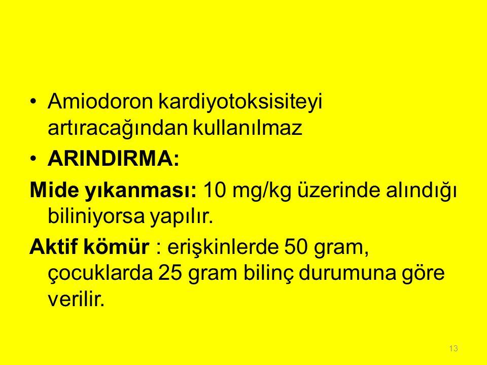 Amiodoron kardiyotoksisiteyi artıracağından kullanılmaz ARINDIRMA: