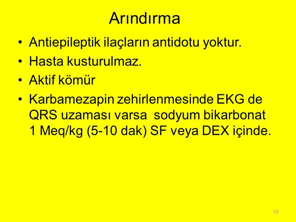 Arındırma Antiepileptik ilaçların antidotu yoktur. Hasta kusturulmaz.