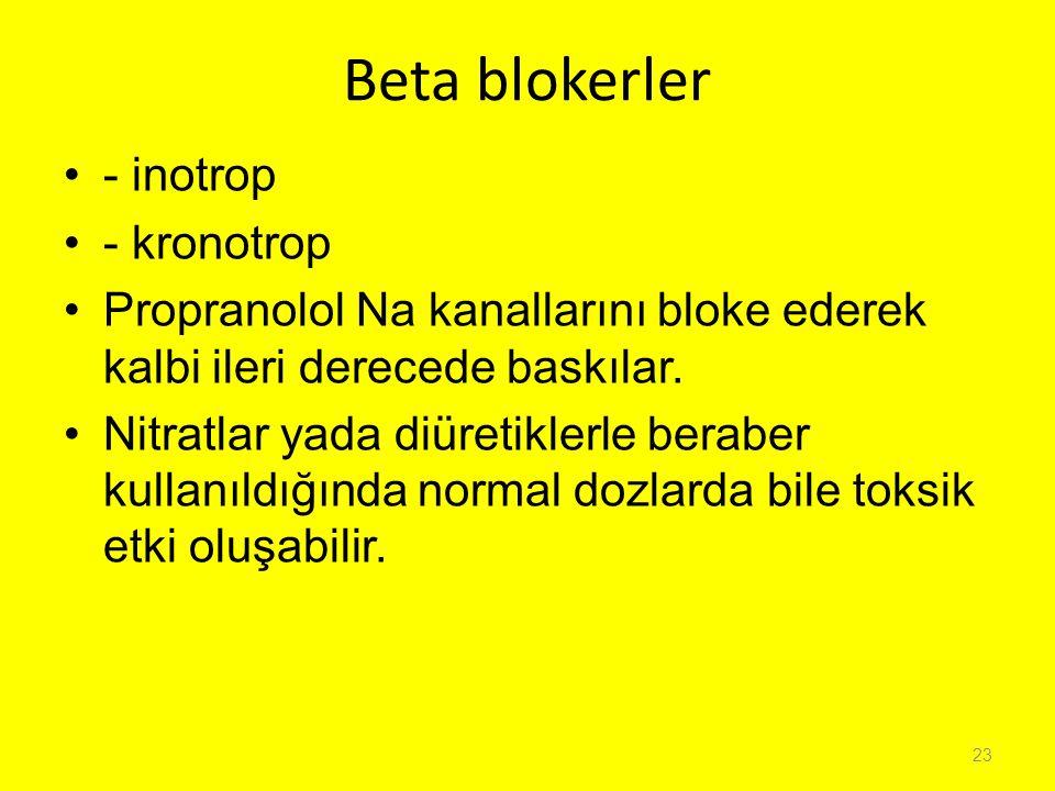 Beta blokerler - inotrop - kronotrop