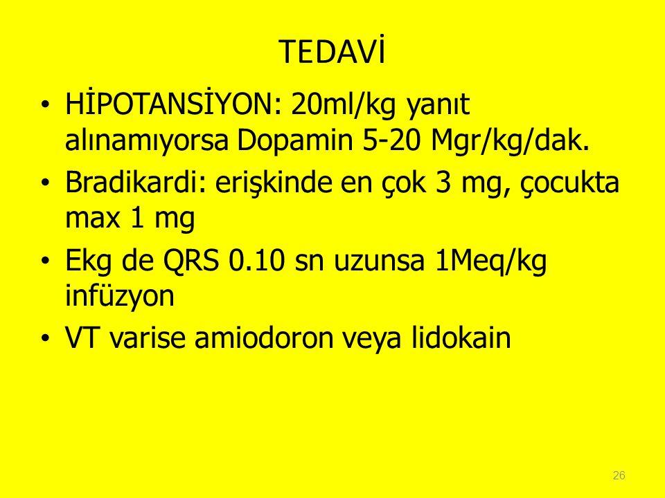 TEDAVİ HİPOTANSİYON: 20ml/kg yanıt alınamıyorsa Dopamin 5-20 Mgr/kg/dak. Bradikardi: erişkinde en çok 3 mg, çocukta max 1 mg.