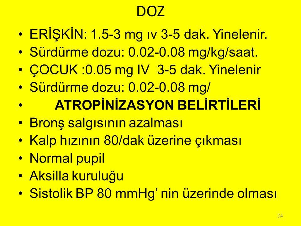 DOZ ERİŞKİN: 1.5-3 mg ıv 3-5 dak. Yinelenir.