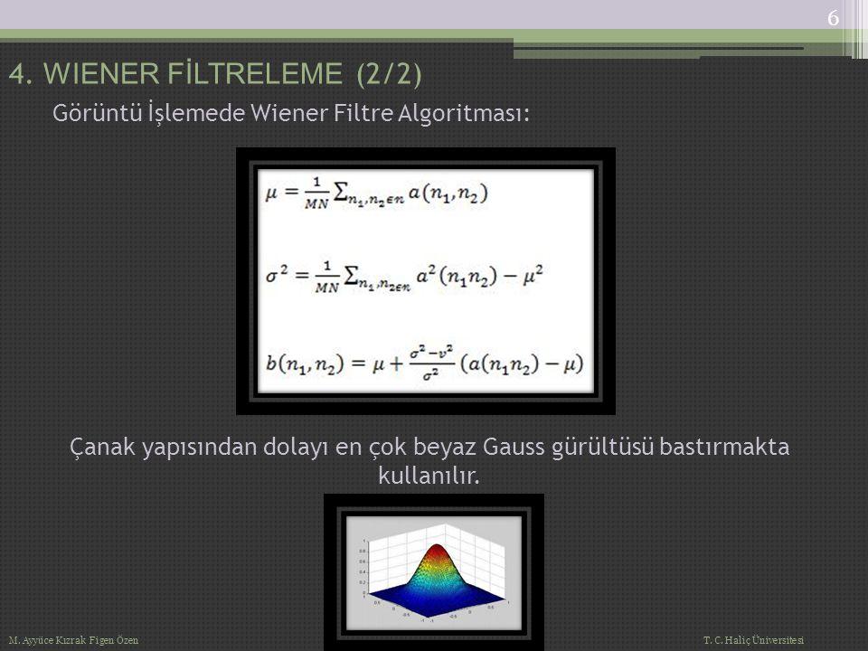 Görüntü İşlemede Wiener Filtre Algoritması: