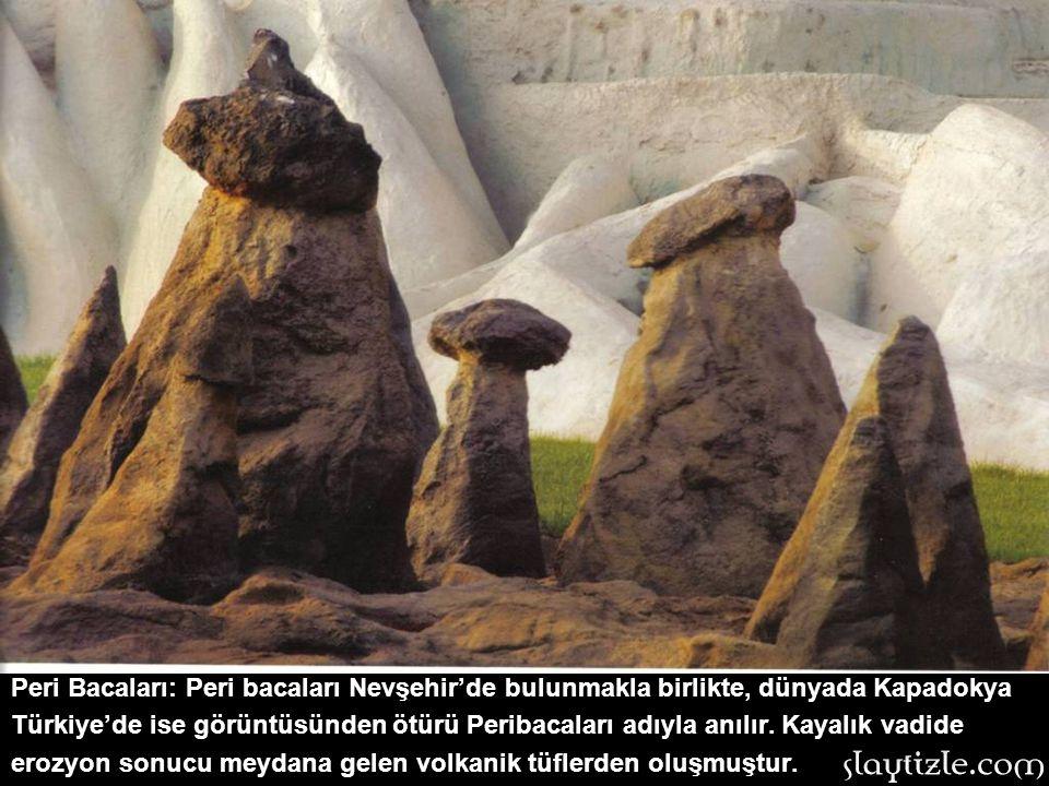 Peri Bacaları: Peri bacaları Nevşehir'de bulunmakla birlikte, dünyada Kapadokya Türkiye'de ise görüntüsünden ötürü Peribacaları adıyla anılır.