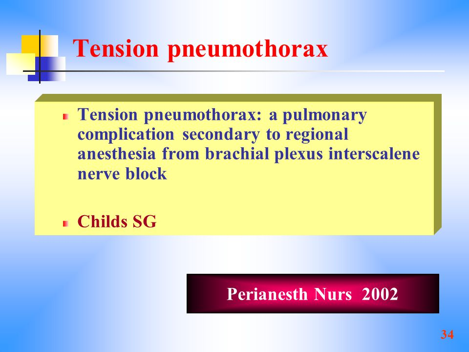 Tension pneumothorax Tension pneumothorax: a pulmonary complication secondary to regional anesthesia from brachial plexus interscalene nerve block.