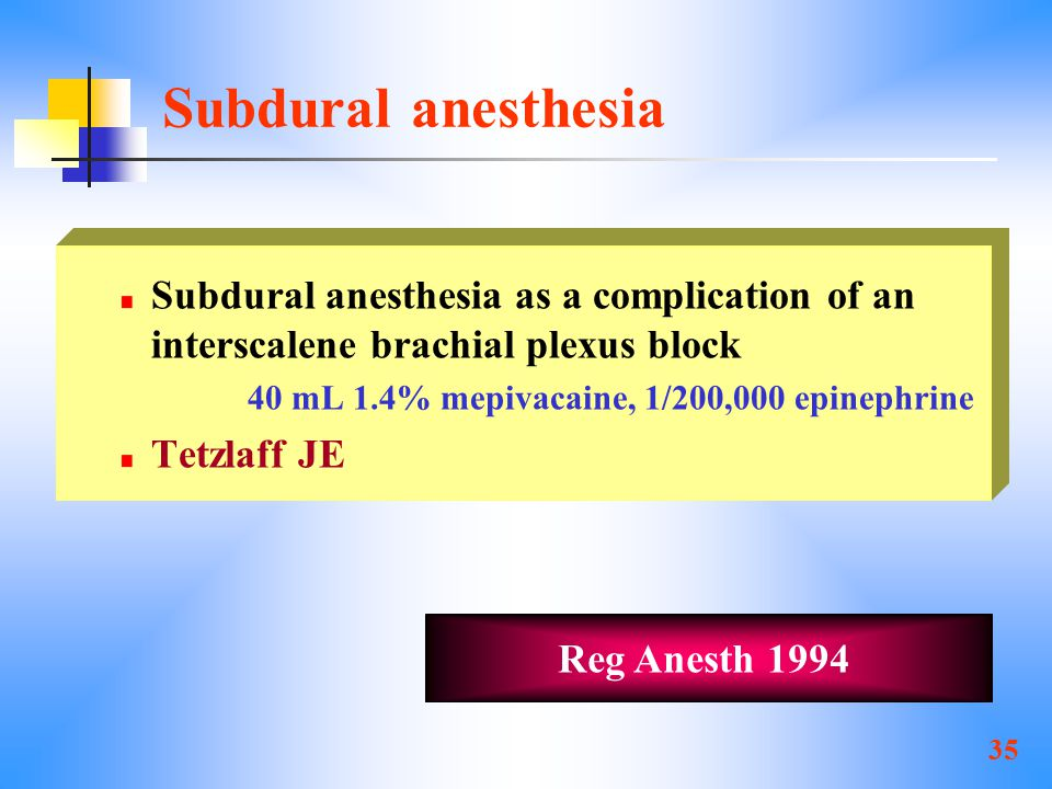 Subdural anesthesia Subdural anesthesia as a complication of an interscalene brachial plexus block.