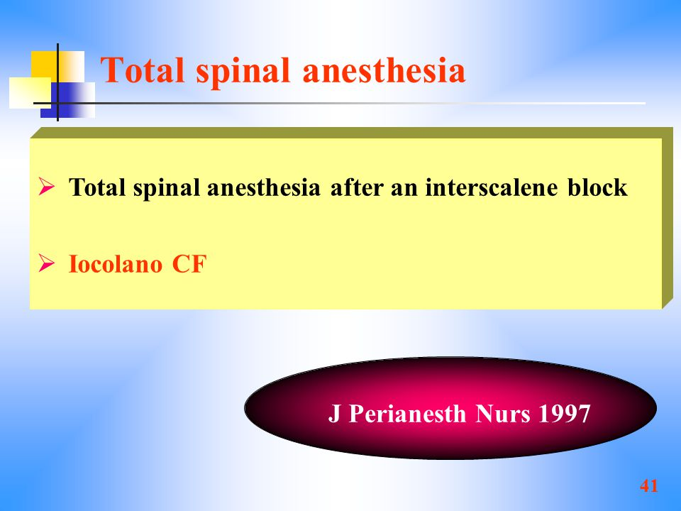 Total spinal anesthesia